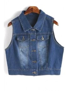 Metallic Button Denim Waistcoat