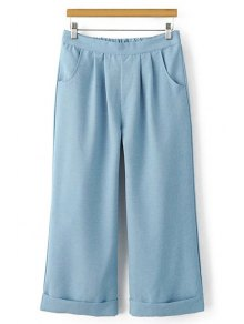 Elastic Waist Wide Leg Capri Pants