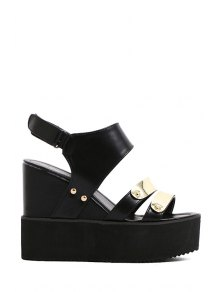 Metal  Wedge Heel Sandals - Black 39