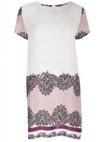 Vintage Print Round Neck Short Sleeve Dress