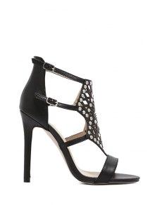 Buy Rivet Hollow Stiletto Heel Sandals 37 BLACK