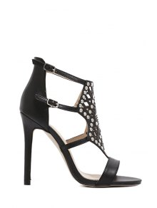 Buy Rivet Hollow Stiletto Heel Sandals - BLACK 35