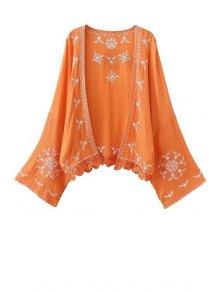 Kimono Sleeve Embroidered Blouse - Orange