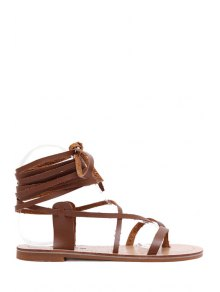 Lace-Up Flat Heel Sandals - Brown