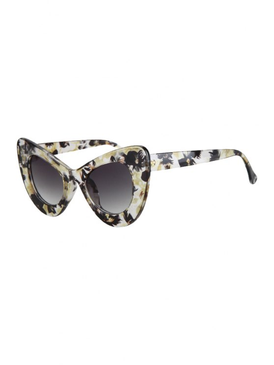 Flower Pattern Butterfly Shape Sunglasses - YELLOW  Mobile