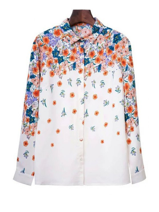 fashion Tiny Flower Print Shirt Collar Long Sleeve Shirt - WHITE S