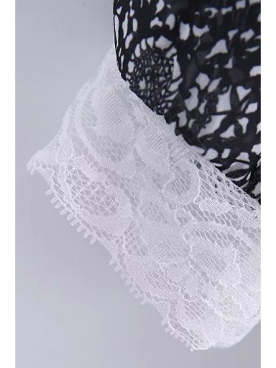 Lace Spliced Round Collar 3/4 Sleeve Blouse - WHITE M Mobile