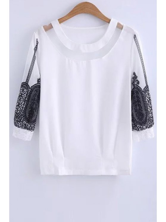 shops Lace Spliced Round Collar 3/4 Sleeve Blouse - WHITE M
