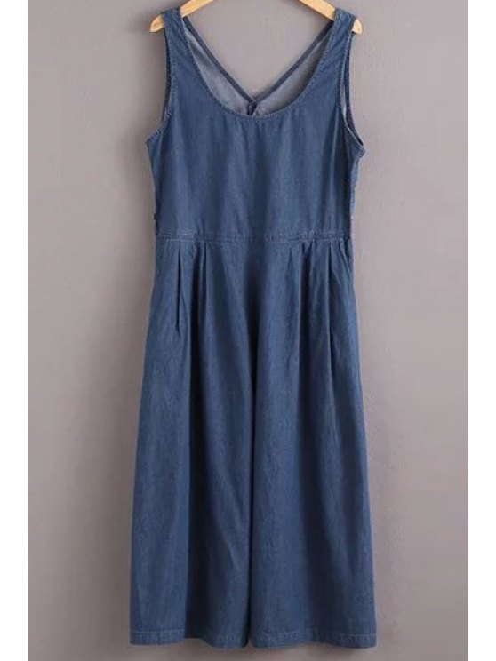 Solide Couleur Jewel Neck manches Denim Jumpsuit - Bleu S