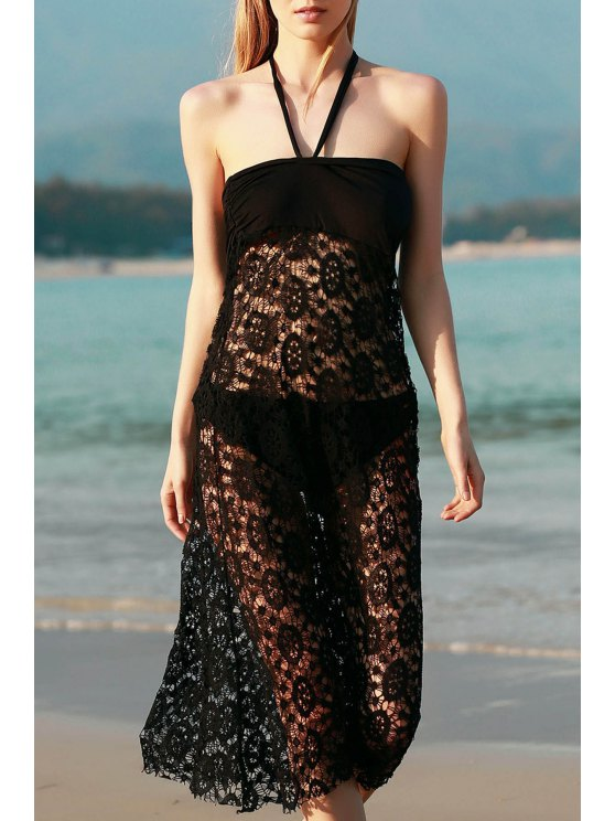 Solid Color Lace Cover Up Jupe - Noir M