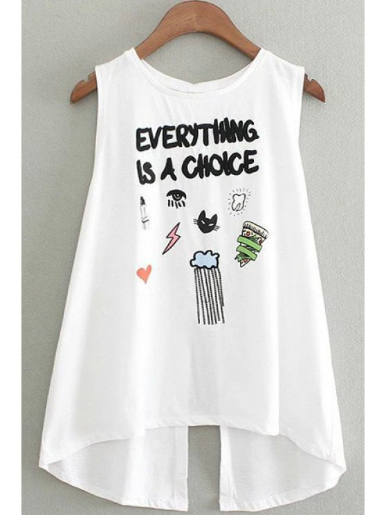 women's Character Print Round Collar Sleeveless Tee - WHITE ONE SIZE(FIT SIZE XS TO M)