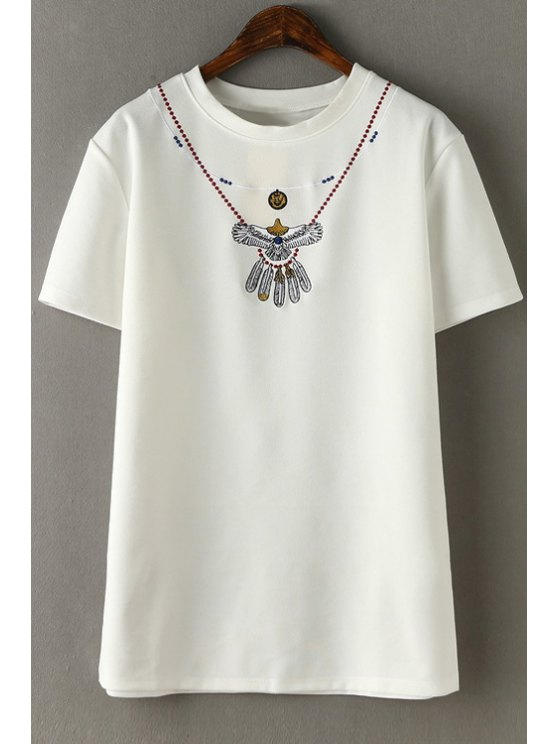 buy Embroidery Round Collar Short Sleeve T-Shirt - WHITE S