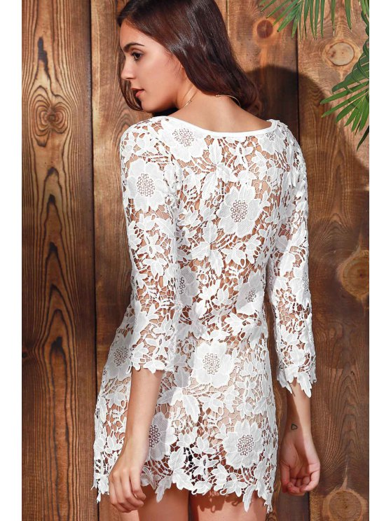 Scalloped Sheer Lace Cover Up - WHITE L Mobile