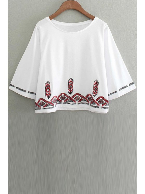sale Embroidery Round Collar 3/4 Sleeve T-Shirt - WHITE M