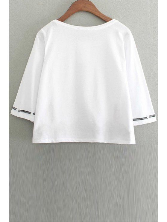 Embroidery Round Collar 3/4 Sleeve T-Shirt - WHITE M Mobile