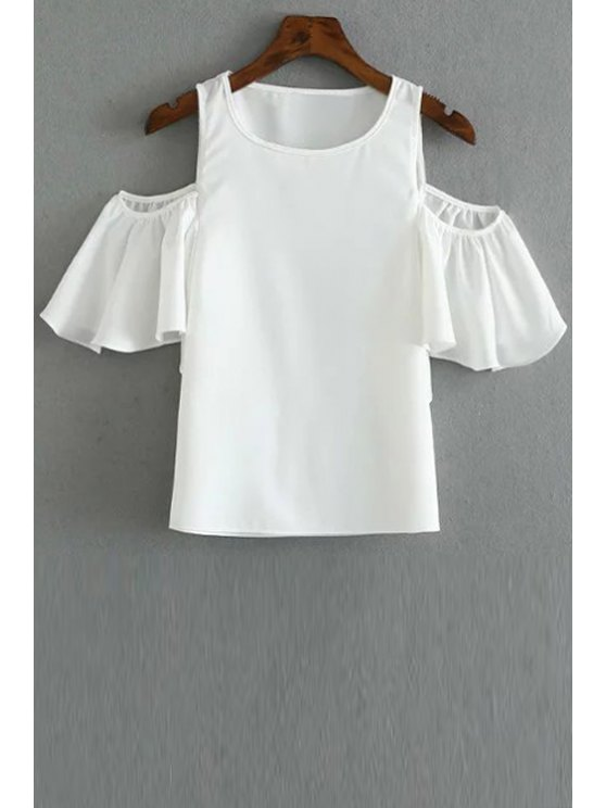 new Solid Color Round Collar Cold Shoulder T-Shirt - WHITE S