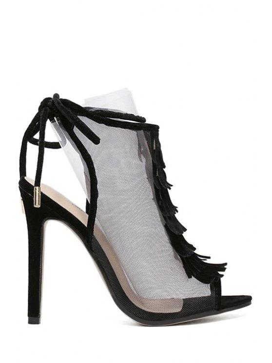 Peep Toe Sandals Gauze Fringe - Noir 36