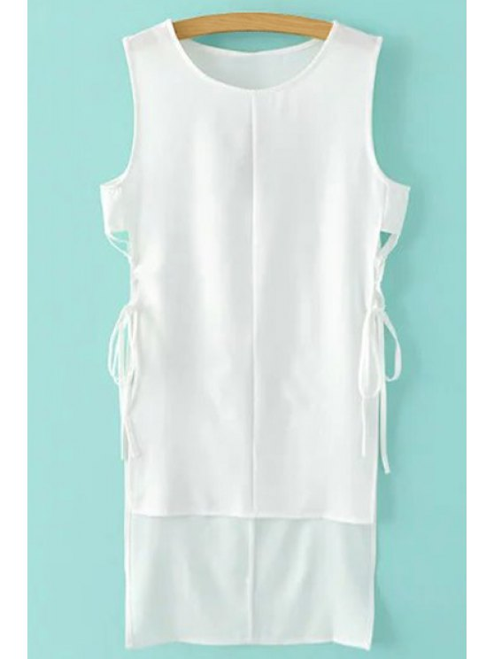 online High-Low Hem Round Collar Solid Color Dress - WHITE XL