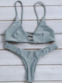 Solid Color Spaghetti Strap Lace Up Bikini Set - Blue Gray L