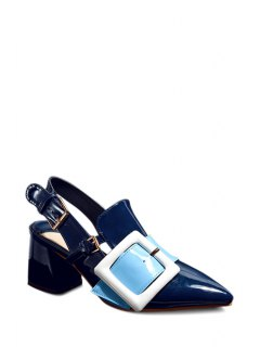 Slingback Square Buckle Chunky Heel Pumps - Blue 37