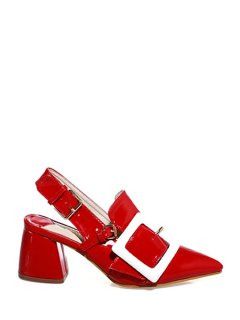Slingback Square Buckle Chunky Heel Pumps - Red 37