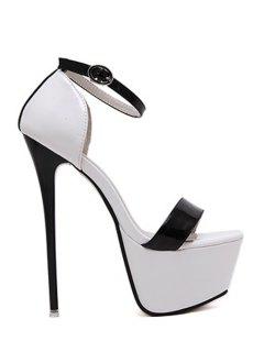 Platform Color Block Stiletto Heel Sandals - White And Black 39