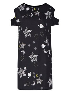 Star Print Hollow Short Sleeve Dress - Black Xl