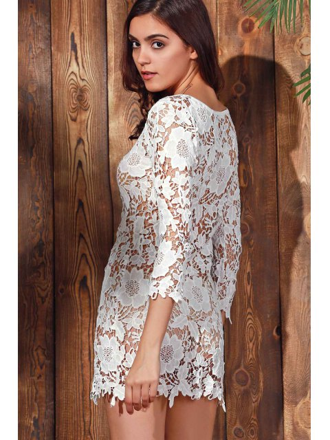 latest Scalloped Sheer Lace Cover Up - WHITE L Mobile