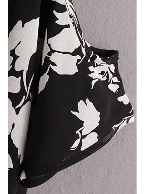 women's Ink Print Round Neck Short Sleeve Cold Shoulder Dress - BLACK M Mobile