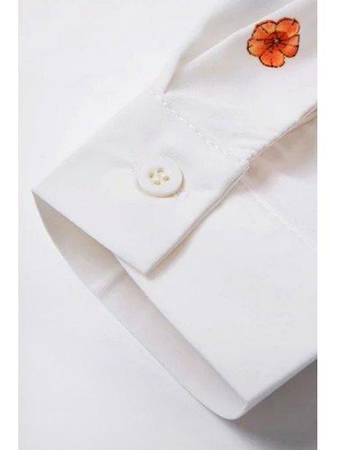 fashion Tiny Flower Print Shirt Collar Long Sleeve Shirt - WHITE S Mobile
