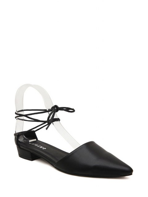 chic Lace-Up Pointed Toe Flat Shoes - BLACK 37 Mobile