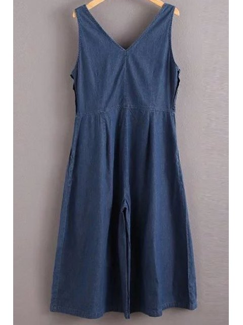 outfit Solid Color Jewel Neck Sleeveless Denim Jumpsuit - BLUE S Mobile