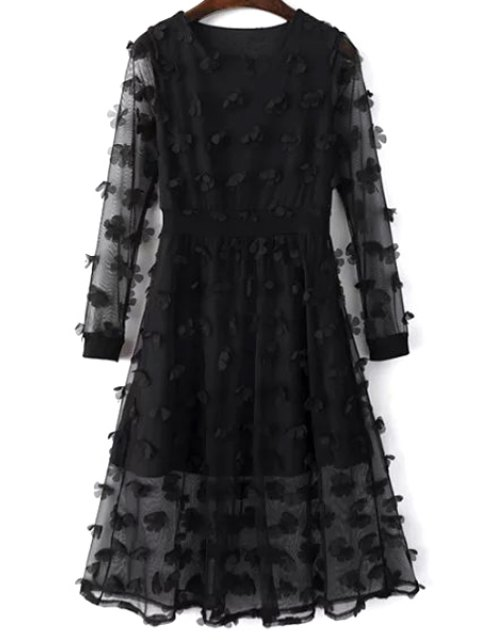affordable Solid Color See-Through Round Neck Long Sleeve Dress - BLACK M Mobile