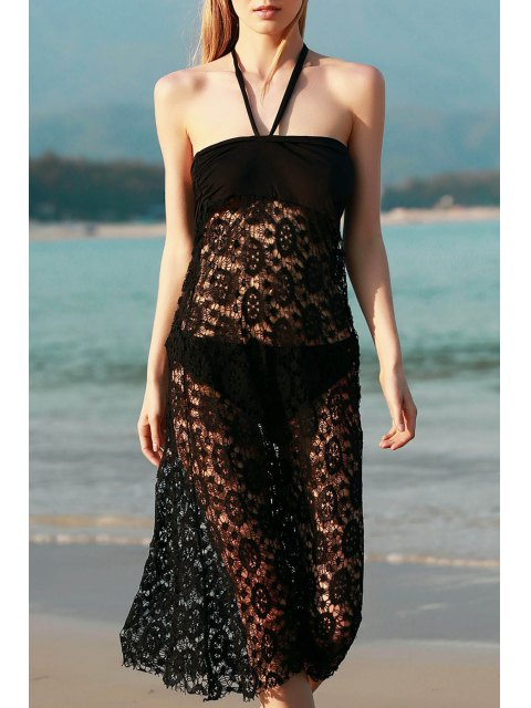 Solid Color Lace Cover Up Jupe - Noir L Mobile