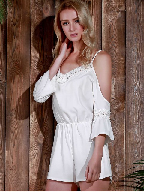 outfits Cold Shoulder Cami Beach Romper - WHITE S Mobile