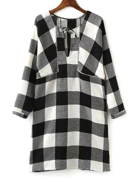 unique Long Sleeve Plaid Loose Dress - WHITE AND BLACK M Mobile