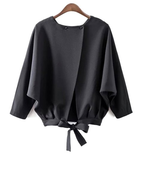 hot Batwing Sleeve Tie Back Blouse - BLACK M Mobile