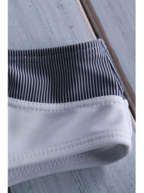 best Stripe Spliced Halter Bikini Set - WHITE L Mobile