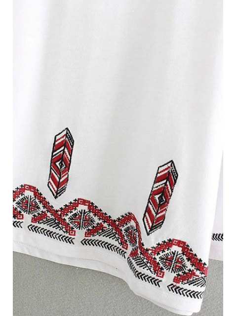 sale Embroidery Round Collar 3/4 Sleeve T-Shirt - WHITE M Mobile
