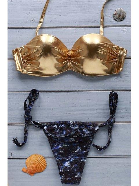 chic Golden Halter Bikini Set - GOLDEN S Mobile