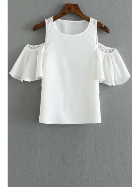 outfit Solid Color Round Collar Cold Shoulder T-Shirt - WHITE L Mobile