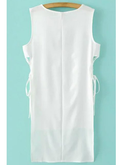 online High-Low Hem Round Collar Solid Color Dress - WHITE XL Mobile