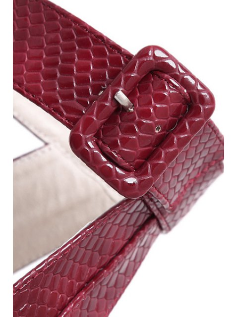 women Snake Print Platform Ankle Strap Sandals - RED 37 Mobile