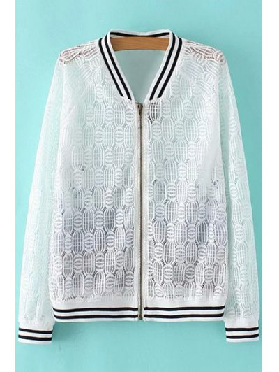 Stand Collar Long Sleeve Lace Spliced Printed Jacket