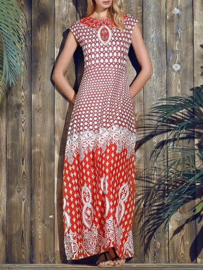Red Print Round Neck Short Sleeve Maxi Dress - Red