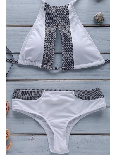 Stripe Spliced Halter Bikini Set - White