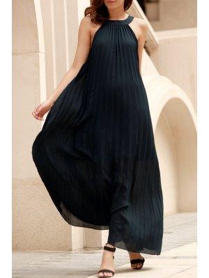 Deep Blue Pleated Sleeveless Maxi Dress - Deep Blue