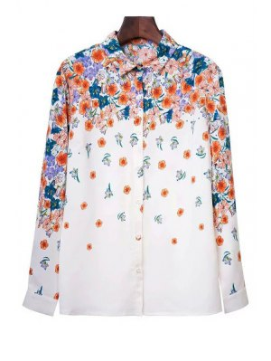 Tiny Flower Print Shirt Collar Long Sleeve Shirt - White