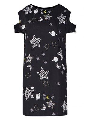 Star Print Hollow Short Sleeve Dress - Black