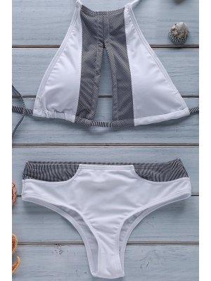 Stripe Spliced Halter Bikini Set - White